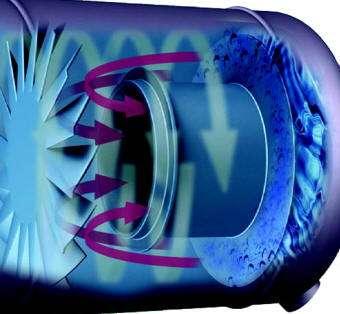 Centrifugal vortex containment plate